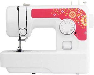 Maquina de coser pequeña blanca con rojo